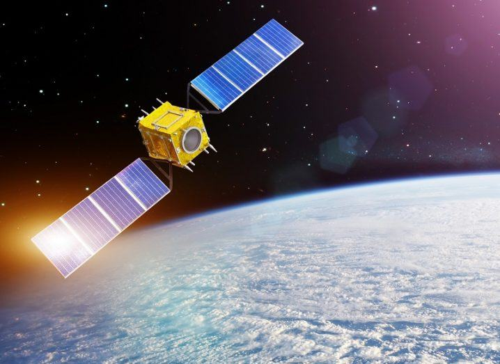 Satellite orbiting the Earth.