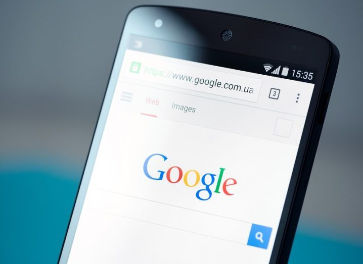 The Google search engine open on a phone screen.