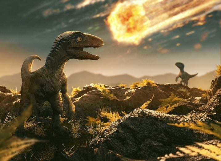 Illustrator of a dinosaur seeing a huge asteroid about to make impact with Earth.