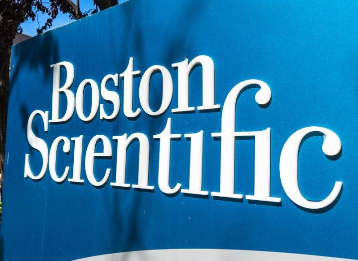 A blue Boston Scientific sign.