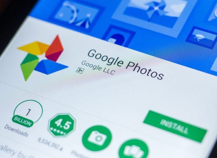 The Google Photos page on the Google Play Store on a phone screen.