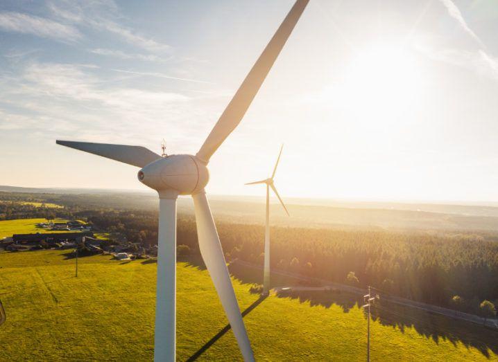 Wind turbines on a windfarm on a sunny day.