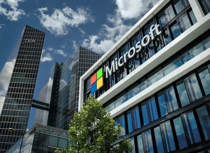 Exterior of Microsoft's Munich office with skyscrapers in the background.