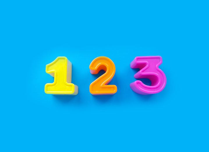 Playful shapes of the numbers 1, 2 and 3 in yellow, orange and pink on a bright blue background.