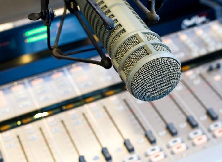 A professional microphone in a radio studio.