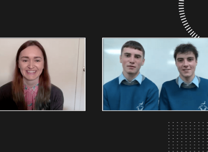 Screenshot of Elaine Burke, Cormac Harris and Alan O'Sullivan speaking at Future Human.