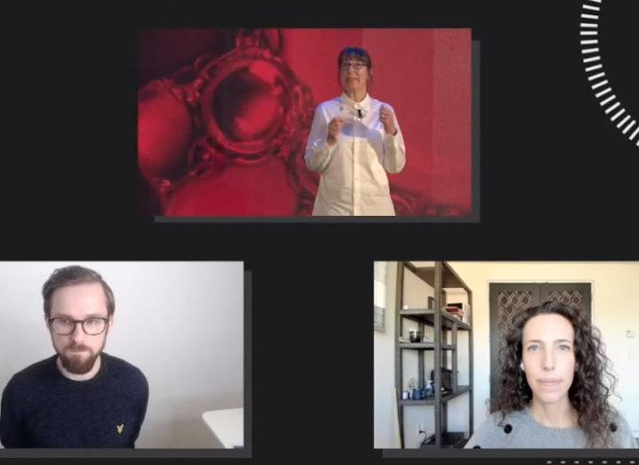 Three separate screens, each featuring a person speaking at a virtual event.