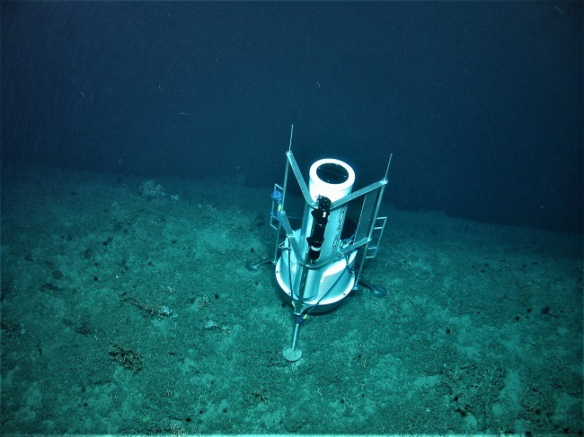 A remote monitoring device placed by the UCC team on the ocean floor.