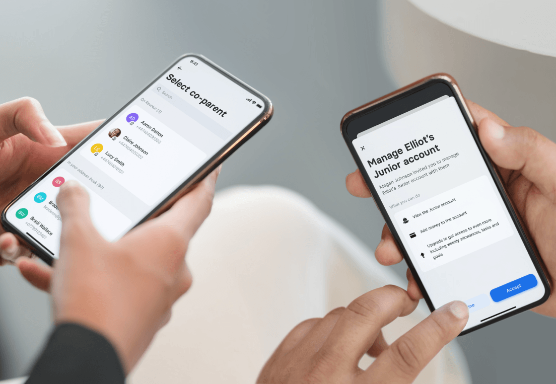 Two people are using the Revolut Co-Parent feature on their smartphones.