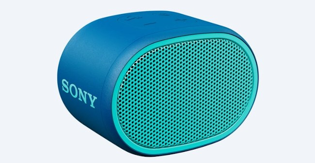 A small oval shaped blue speaker with a turquoise Sony logo on the side.