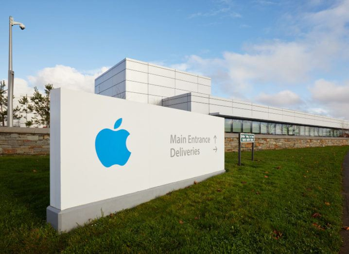 A large sign bearing the Apple logo outside Apple's campus in Cork.