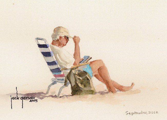 A painting of Bob Kerwin, an older man on a striped sun lounger wearing a sun hat, T-shirt and shorts.