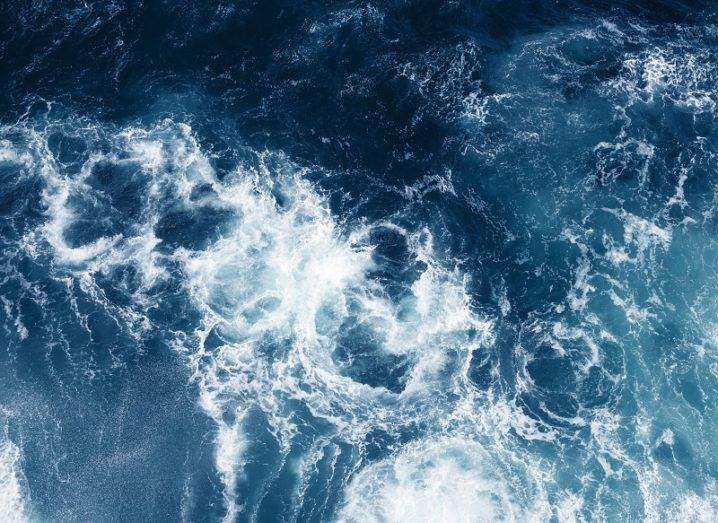 Aerial view of a turbulent ocean.