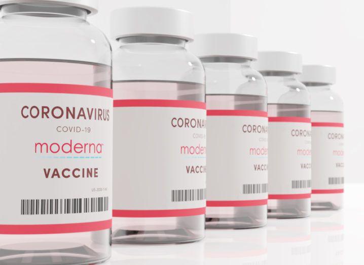 Vials of Covid-19 vaccines bearing the Moderna logo.