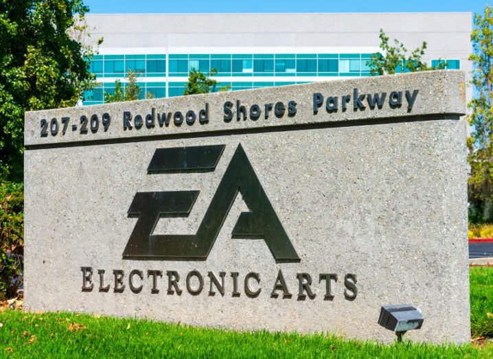 Stone sign for EA headquarters in Silicon Valley, San Francisco outdoors on a sunny day.