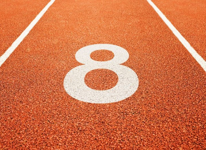 The number eight on a running track.