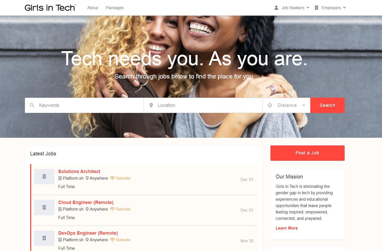 Girls in Tech jobs board homepage