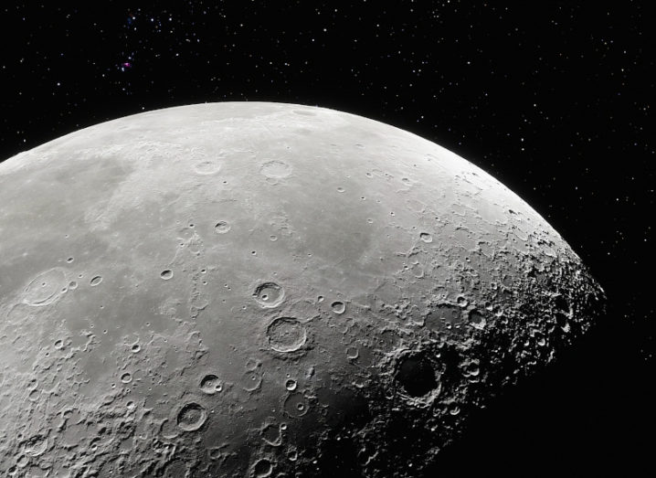 A 3D rendering of the surface of the moon.