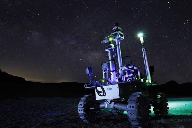 ESA's Rover Autonomy Testbed photographed at night.