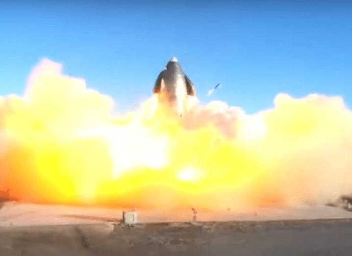 Screenshot of the Starship rocket exploding.