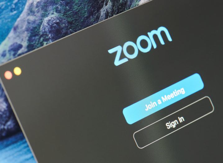A black laptop screen displaying the Zoom sign-in page.