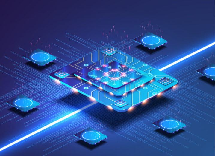 A futuristic microchip with blue lights on a blue background.