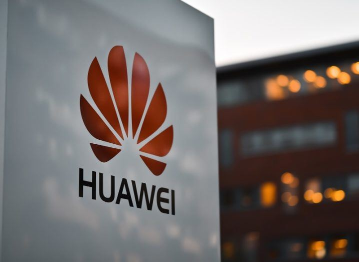 Huawei logo on a building.