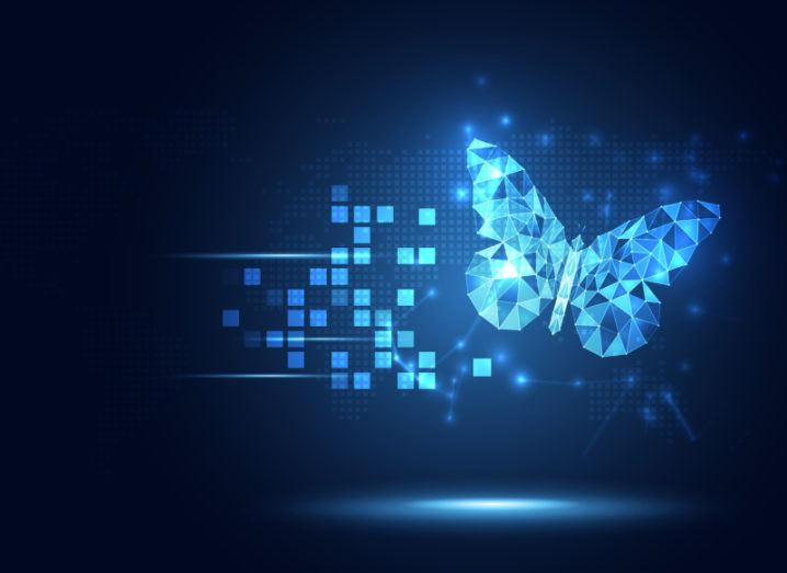 Illustration of a butterfly made from geometric shapes, symbolising digital information.