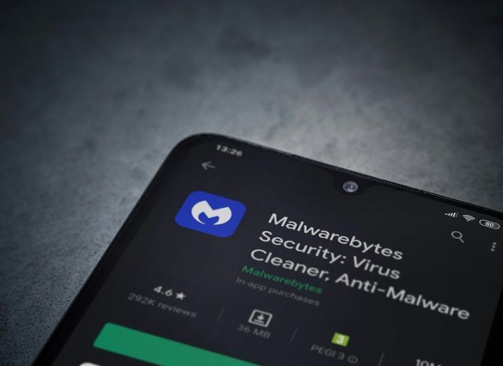Details of Malwarebytes app on a smartphone.
