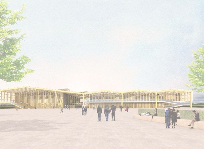 Graphic image of the planned design and construct centre, featuring a long wooden building and a space in front of it where people are congregating.