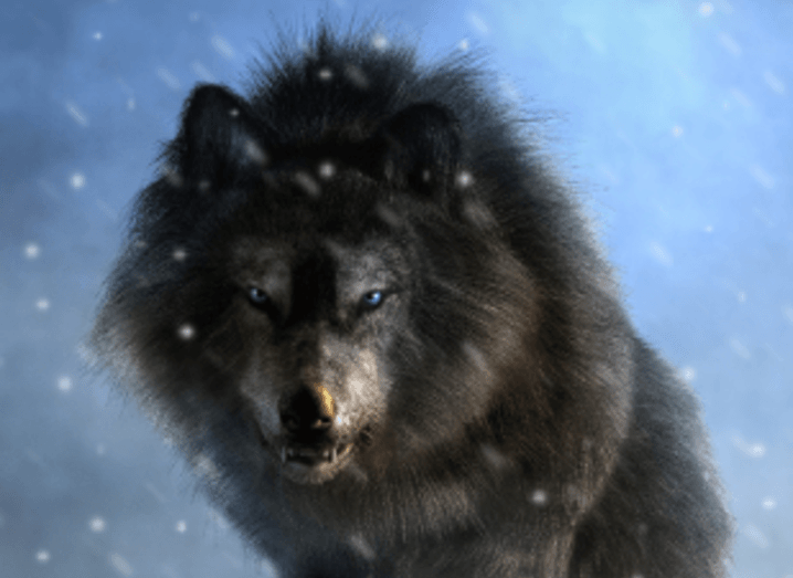 A digital reconstruction of a dire wolf in a snowy landscape.