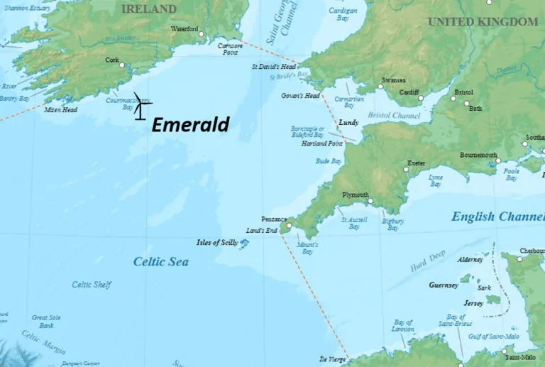 A map showing the location of the Emerald Project off the south coast of Ireland.