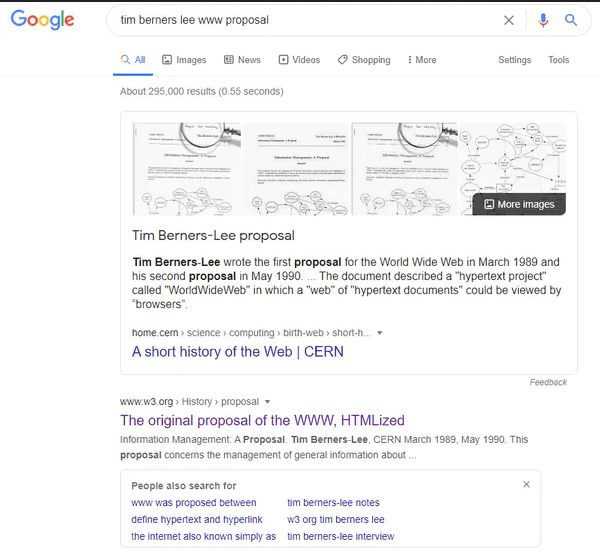 "Screenshot of a Google search for ""tim berners lee www proposal"" showing results which include a preview of the top result along with four images in a carousel."