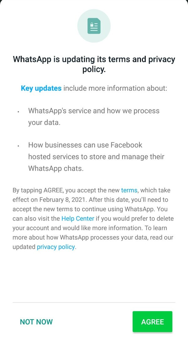A screenshot of the latest update notification from WhatsApp