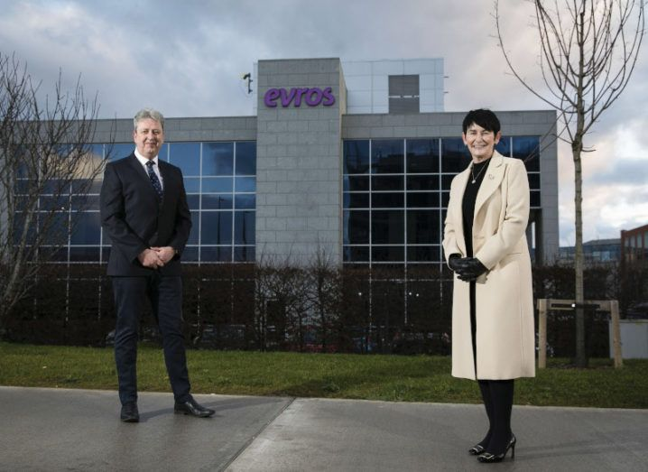 Brian Larkin and Carolan Lennon stand outside the Evros office.