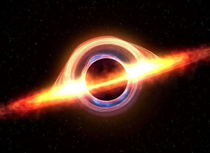 A black hole attracting space matter.