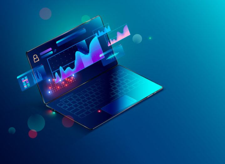 Graphic on a laptop with financial data surrounding it.