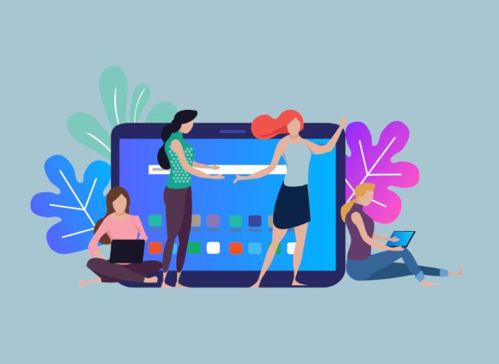 Illustration of women using tablet devices and laptops to network with one another remotely.