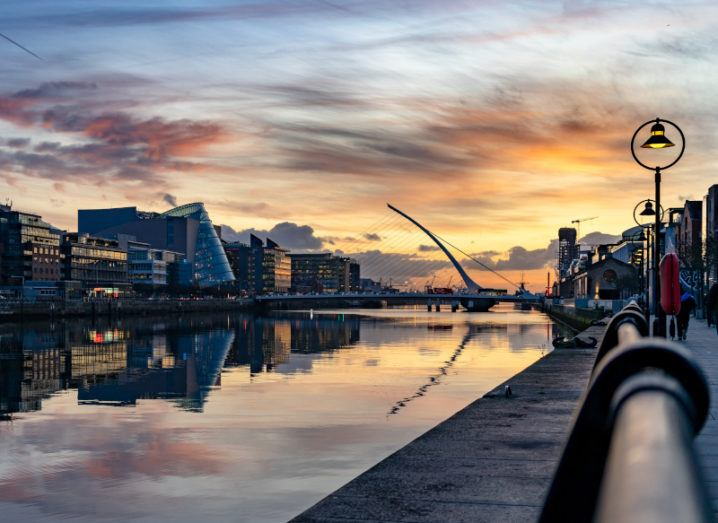 Photograph of the sun setting in Dublin city.