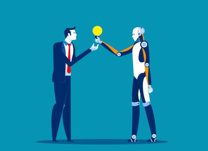 Illustration of a business person exchanging a lightbulb with a robot.