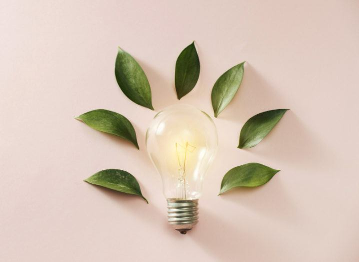 A glowing lightbulb surrounded by green leaves on a soft pink background.