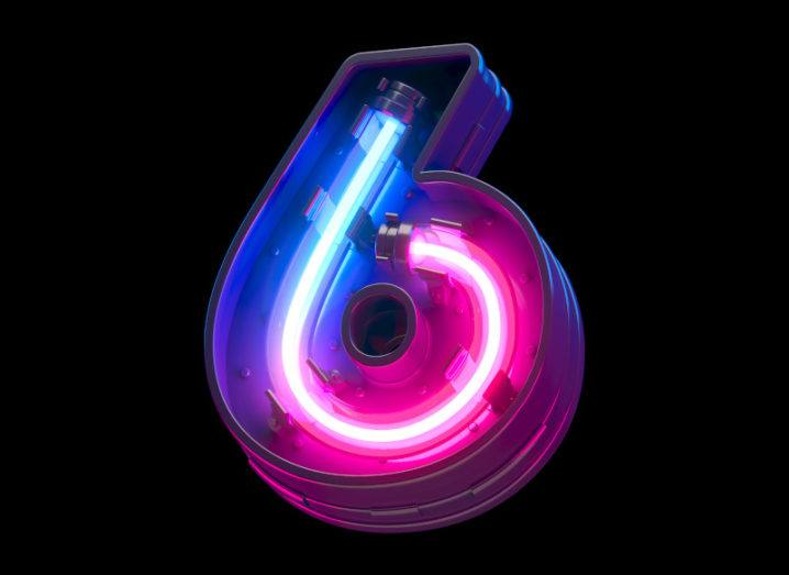 Illustration of a blue and pink neon light shaped like the number six.