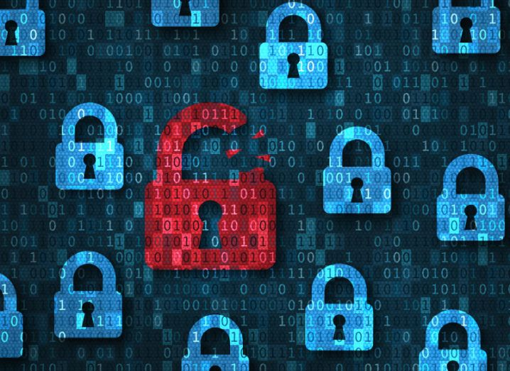 Several digital renderings of blue padlocks against a background of binary code. One padlock is red and broken, symbolising data breaches.