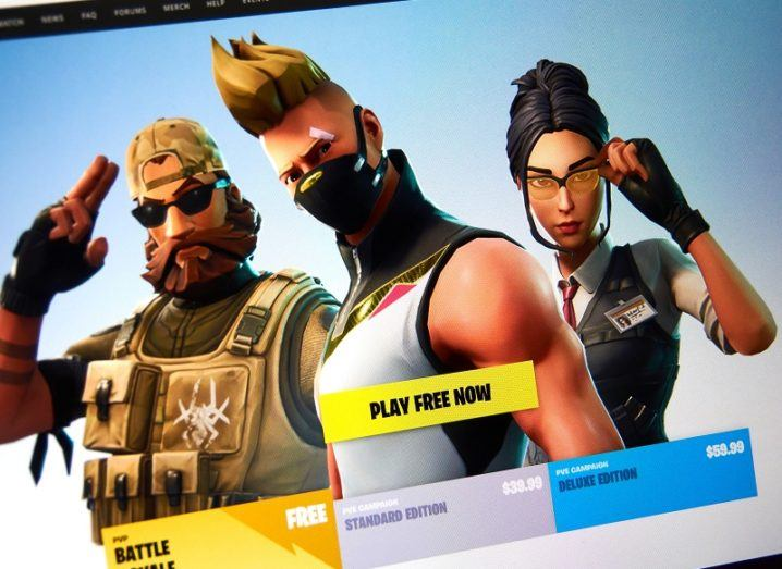 Image from the Fortnite game, with three characters on the screen.