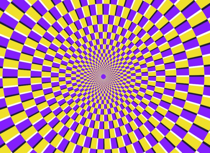 An optical illusion, with a swirl of purple and yellow squares, giving the false appearance of movement.