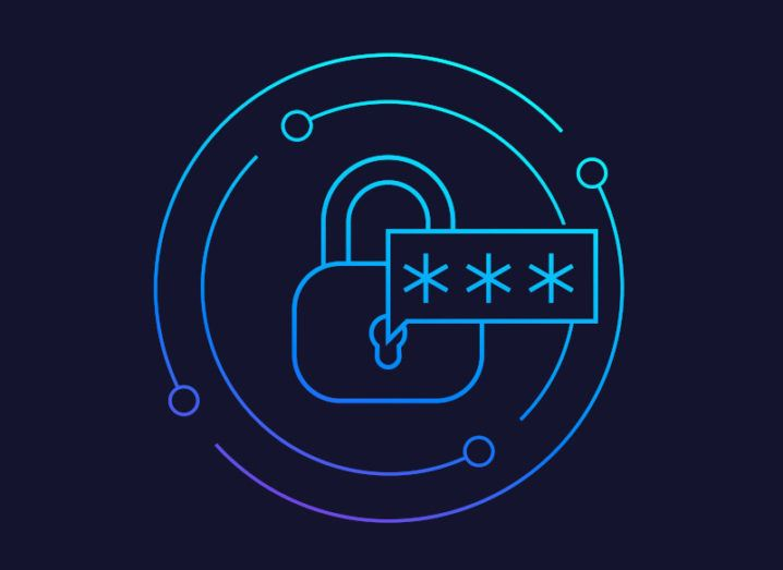 A vector of a blue outline of a padlock with a speech bubble coming out of it with three asterisks, symbolising multifactor authentication.