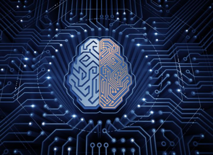 Illustration of an electronic chip in the shape of a human brain in electronic cyberspace.