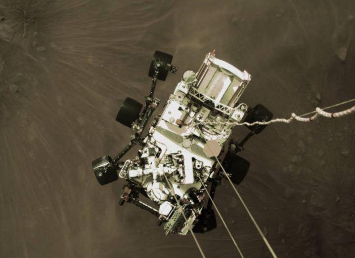 NASA's Perseverance rover landing on Mars.