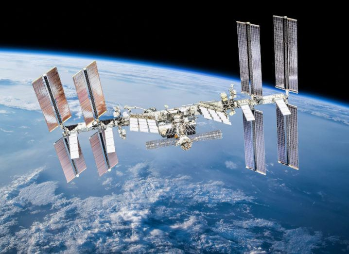 The International Space Station in orbit of Earth.