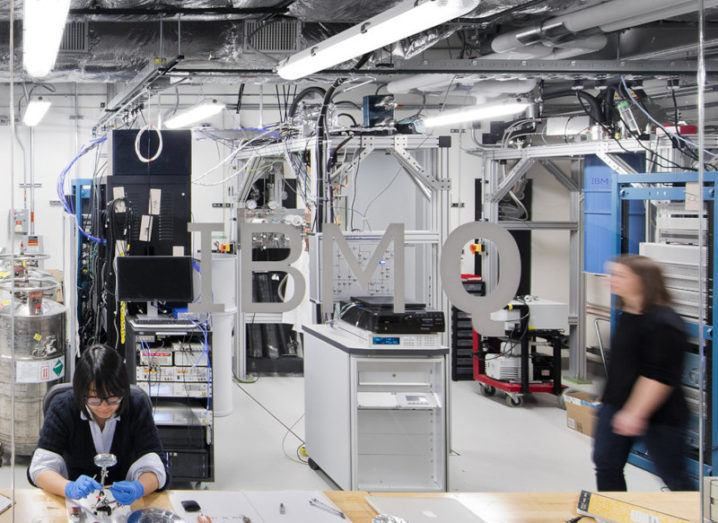 Photo of people working in a quantum computing lab at IBM Q in New York.